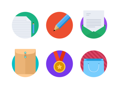 Flat Iconset v1 icons flat round circle document pencil letter mail envelope medal gold shopping bag
