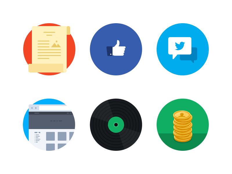 Flat Iconset v4 icons flat round circle scroll facebook twitter web website vinyl coins money