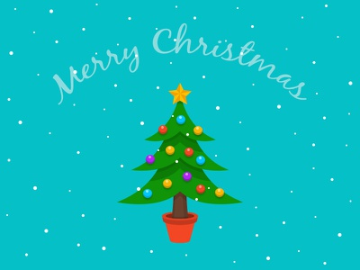 Merry Christmas christmas merry tree ornaments snow fall illustration
