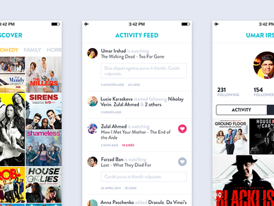 Misc Screens 2 - TV Shows App ios tv shows app activity discover profile watch list flat ios 7