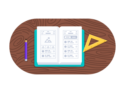 User Experience - Icon icon ux user experience book wireframes pencil wood notebook icon design illustration