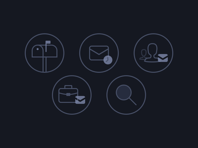 Icons for iDox iPad App outline icons stroke icons search group email mailbox ipad ios ios 8 icons