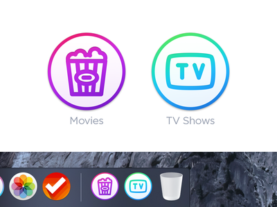 Movies & TV Shows Folder Icons - Mac OS X round dock icon icons folder osx mac tv shows movies