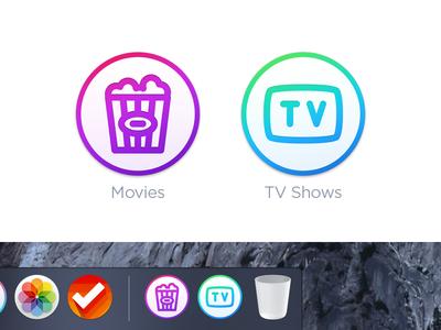 Movies & TV Shows Folder Icons - Mac OS X round dock icon icons folder osx mac tv shows movies