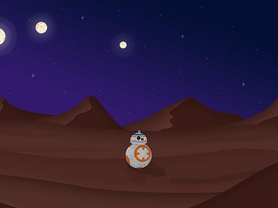 BB-8 tatooine night day desert illustration flat star wars bb-8