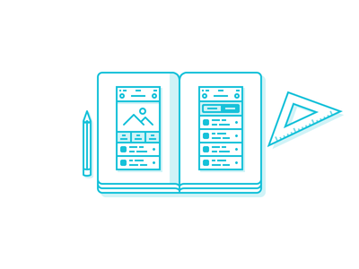 User Experience - Illustration icon design wireframes notebook notes pencil ux user experience illustration stroke icon