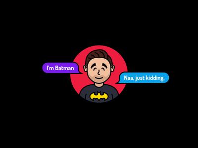 Avatar - Stroke Illustration flat icon flat batman user avatar stroke icon illustration
