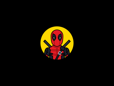Deadpool mcu flat icon illustration stroke marvel deadpool