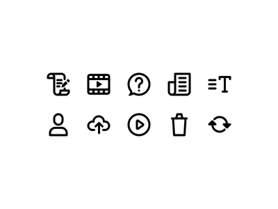 Icons for Reporter.vu App user cloud news videos movies teleprompter reporter iconset stroke app android icons