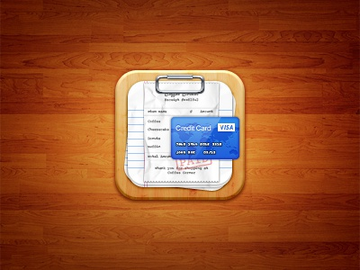 Bill Organizer iOS Icon ios iphone ipad icon 144px clipboard wood credit card receipt paper