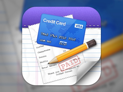 Concept - Bill Orgaziner iOS Icon ios iphone ipad icon 512px 256px receipt credit card notepad pencil paper curl
