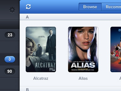 Browse Shows - iOS App ipad ios app application retina tv shows tv alcatraz alias browse iconsweets