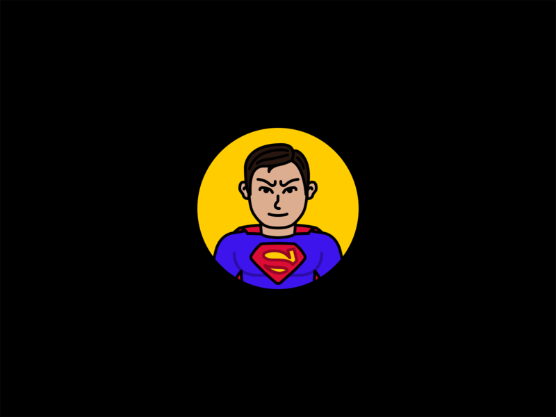 Superman stroke minimal flat icon comics dc villains heroes illustration man of steel supes superman