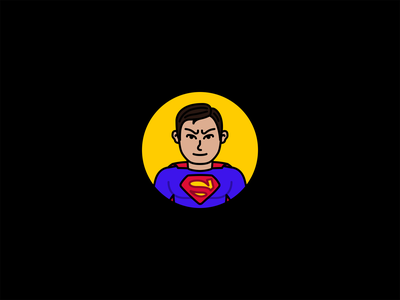 Superman stroke minimal flat icon comics dc villains heroes illustration man of steel supes superman