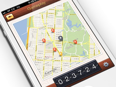 Gameplay - iOS iphone retina wood flipclock settings gameplay maps google pins