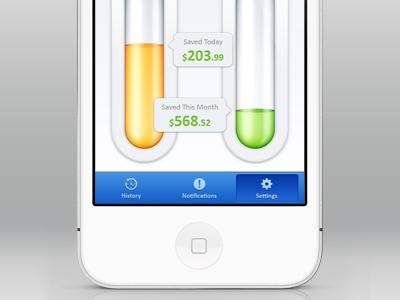Savings App iOS savings ios app design ui iphone retina chart thermometer