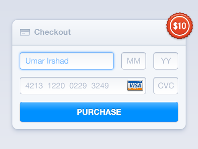 Checkout Form - PSD checkout form credit card visa entypo purchase tag payment web