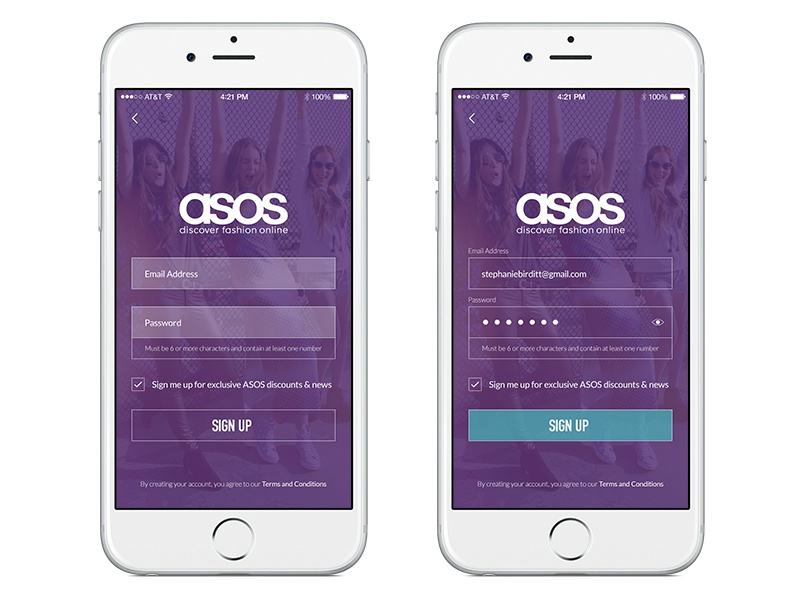 Sign Up - #DailyUI #001 app design ux iphone 6 ecommerce form fields ios app register sign up fashion asos dailyui