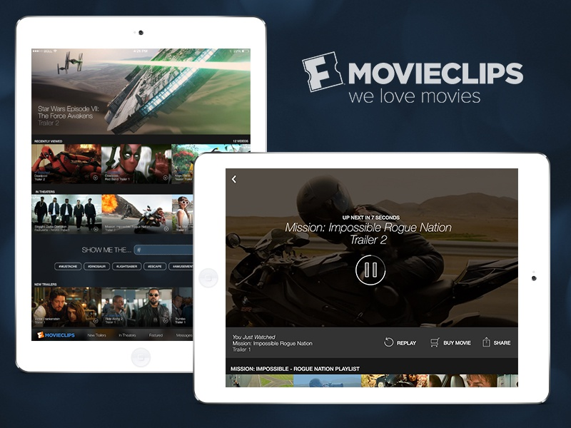 Movieclips for iPad movie ux ui ios video ipad