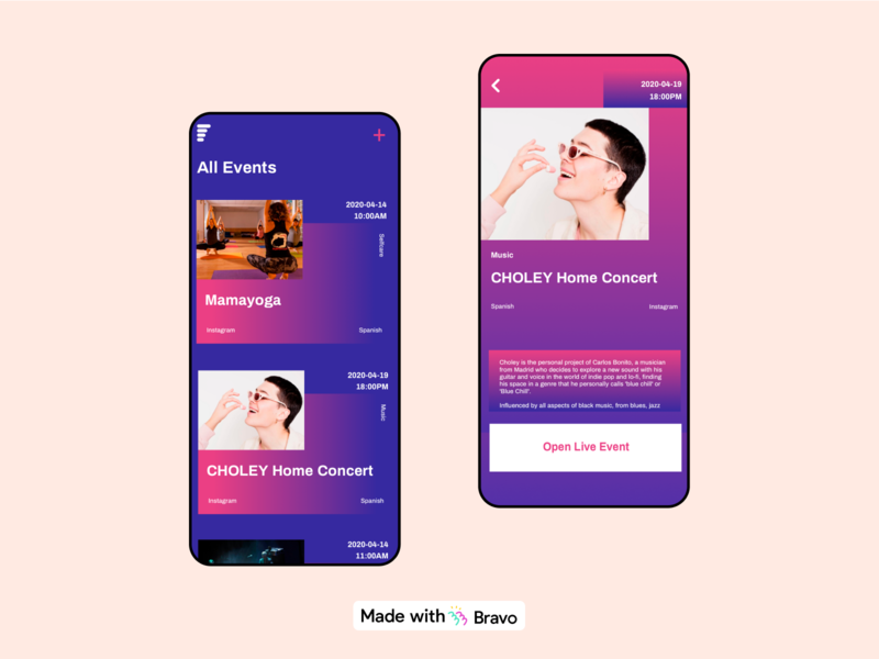 nextLIVE app #madewithBravo 📺🎥🕹️ art yoga colorful events android ios design mobile bravostudio figma native app prototype madewithbravo streaming