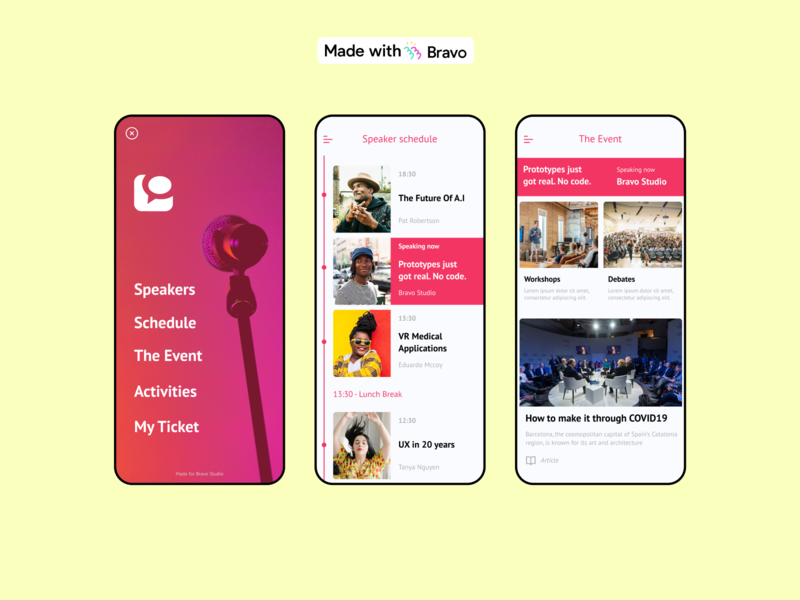 Conference Template googleplay appstore publication nocode mobile native app figma bravostudio conference events madewithbravo