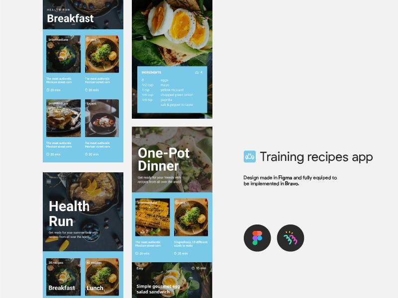 Training Recipes app bravo native app recipes mobile app ui ux figma