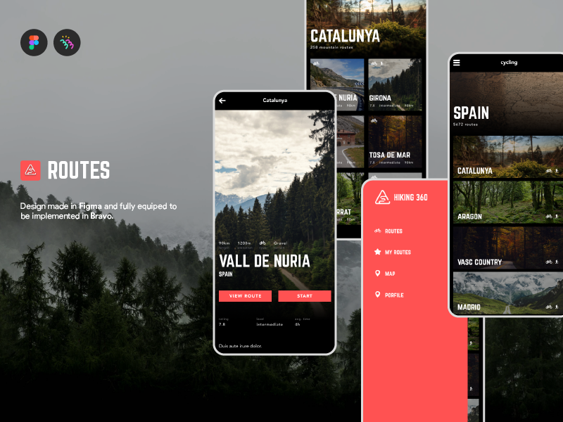 Routes app mountain adventure trekking routes native app mobile app ux ui figma