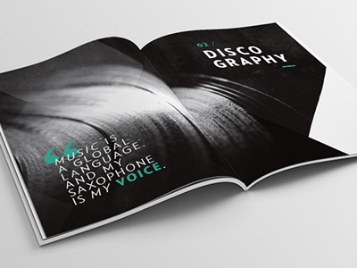 MAX THE SAX Presskit - Editorial design minimalistic shapes triangle typography book discography presskit editorial graphic design