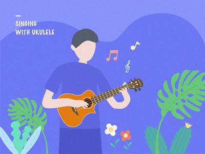 Singing with ukulele banner plants note ukulele singing simple illustration app design ui