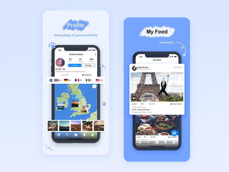 Overseas social app on the Appstore appstore polar bear social chat blue simple illustration clean app design ui