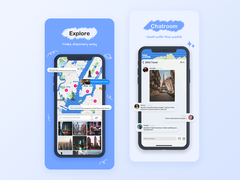 Overseas social app on the Appstore chatroom explore discover polar bear appstore chat blue simple illustration clean app design ui
