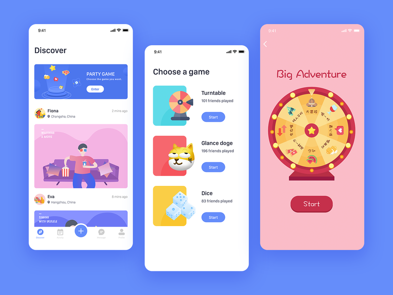 Party Game dice doge social game party discover illustration app design ui