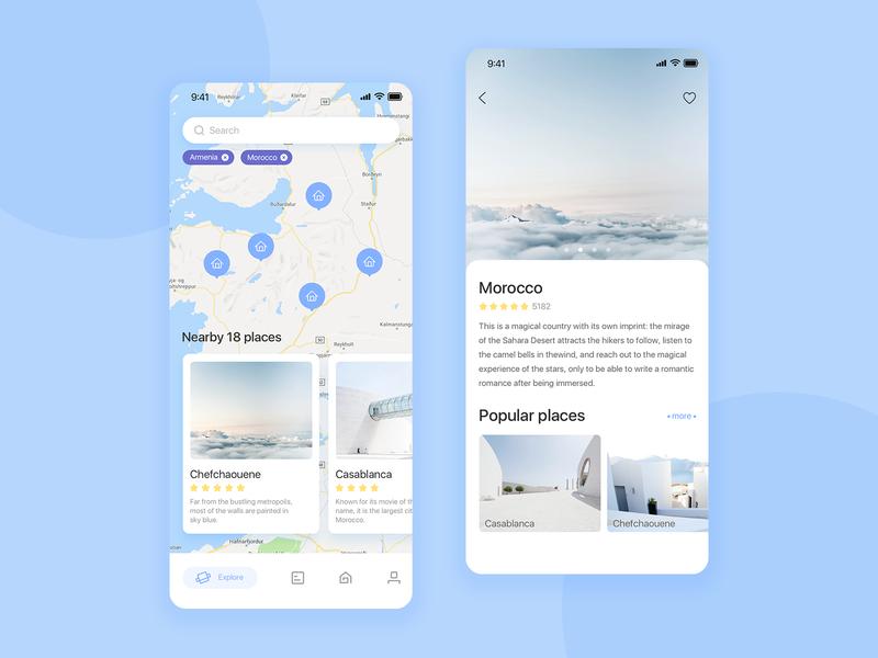Travel app 01 card travel app blue clean app design ui