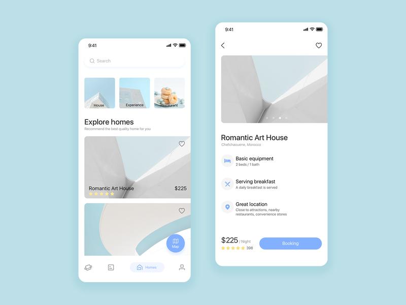 Travel app 03 travel clean card blue design app ui