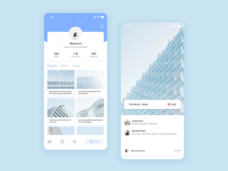 Travel app 04 travel clean card blue design app ui