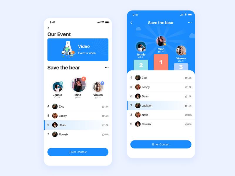 Ranking page simple ranking clean card blue design app ui