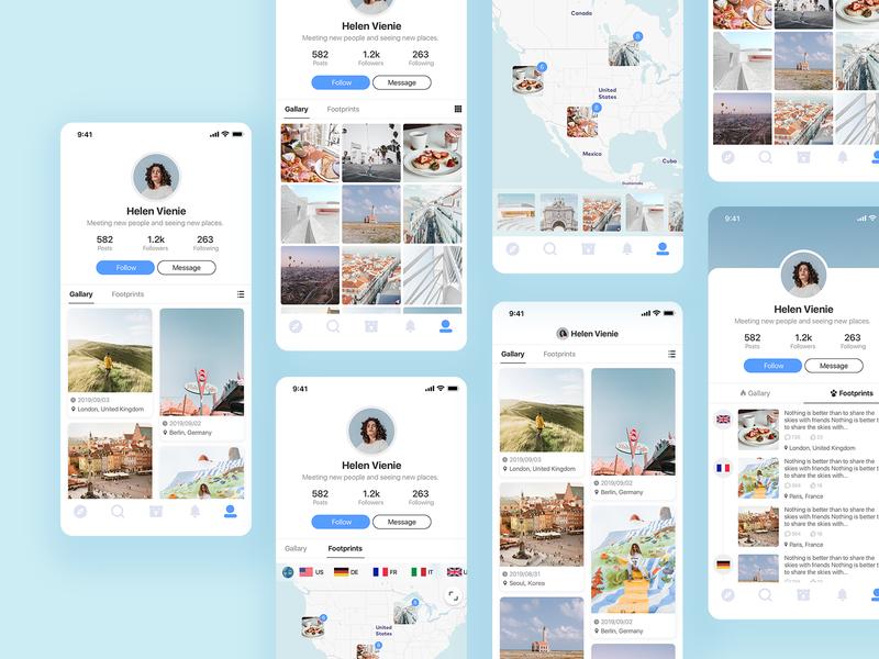 Profile page profile simple card design clean blue app ui