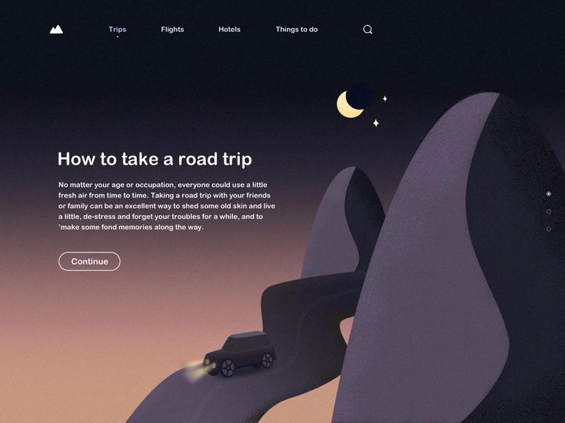 Road Trip Style1 trips night car road trip travel web design ui