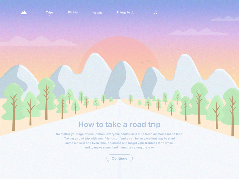 Road Trip Style2 trips clean mountain road trip web design design illustration ui