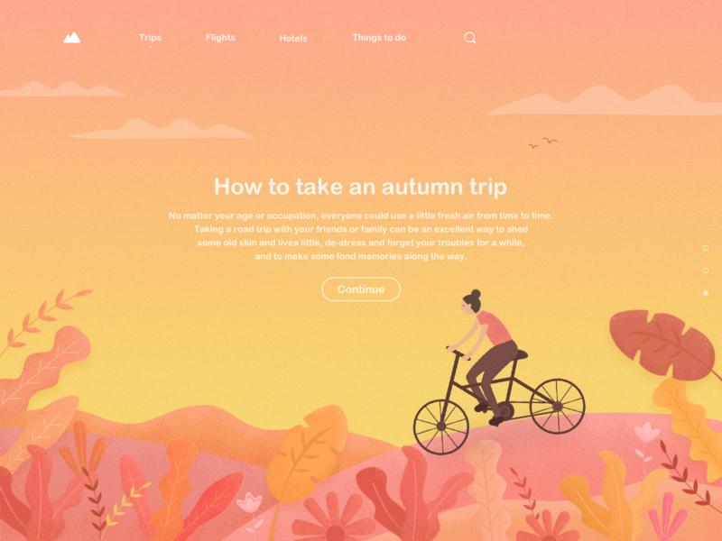 Road Trip Style3 fall autumn road trip web design simple illustration travel ui