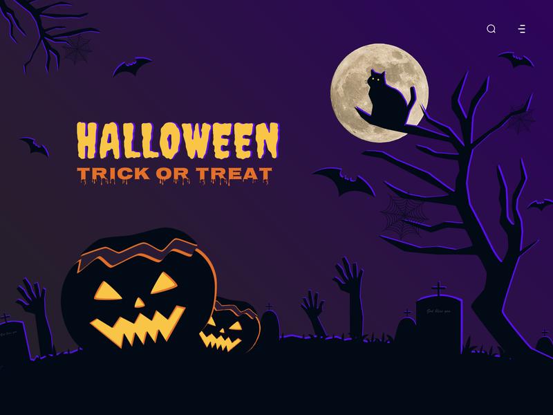 Trick or treat design moon web pumpkin cat bat purple trickortreat halloween illustration