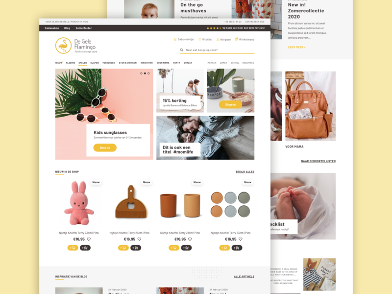 De Gele Flamingo | Rebranding & Webshop Redesign styleguide webstore store kids webshop design website logo family store shop mobile web ui ux branding webdesign