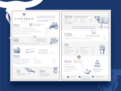 Menu design - The Cowshed