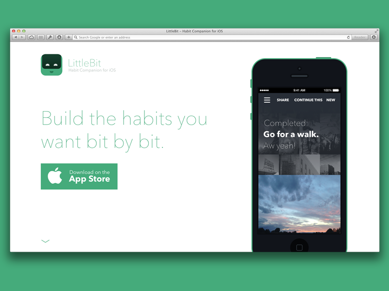 LittleBit for iOS free psd iphone landing page mobile avenir next habit ios