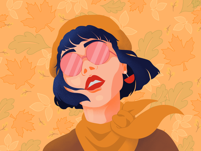 Fall Girl web design vector illustration minimal