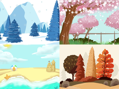Seasons design minimal sketch illustration