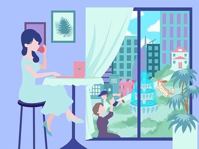 Girl in Cafe minimalism web vector design minimal illustration