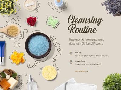 Cleansing Routine Hero web pastel brown typography clean women commerce cosmetic art illustration landing ui ux design branding