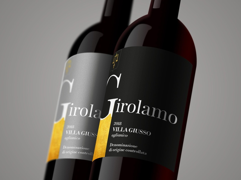 Girolamo - Wine Label portfolio brand identity design label mockup label and box design wine label design illustrator brand identity logo product design wine label