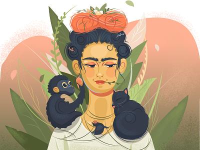 Frida Kahlo girl with animals monkey cat forest illustration vector illustration girl